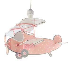Dalber Detská závesná lampa Stars Plane, ružová