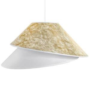 DUOLLA Textilná závesná lampa Coco, biela/zlatá