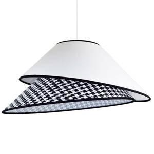 DUOLLA Textilná závesná lampa Coco, biela pepitový vzor