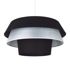 DUOLLA Textilná závesná lampa Lotos, čierna/strieborná