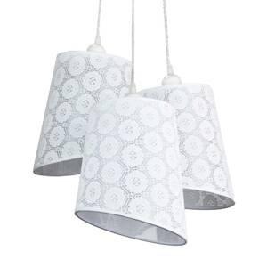 DUOLLA Závesná lampa Verona, 3-pl., biela vzorovaná