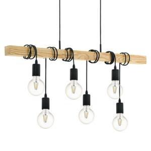 EGLO Závesná lampa Townshend s drevom šesť-plameňová