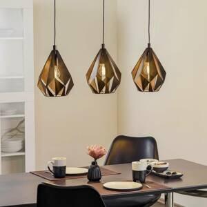 EGLO Závesná lampa Carlton 1 3-plameň, čierna–meď