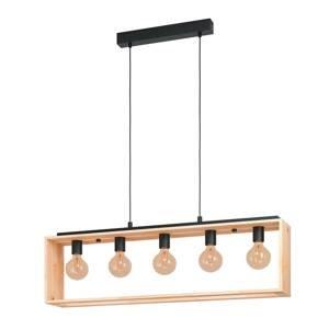 EGLO Závesná lampa Famborough s dreveným rámom, 5-pl.