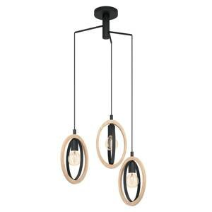 EGLO Závesná lampa Basildon s drevenými detailmi, 3-pl.