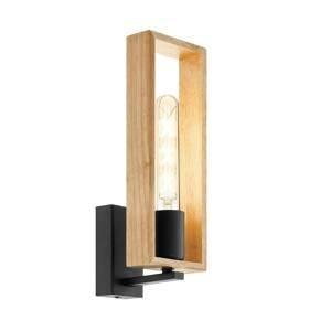 EGLO Nástenné svietidlo Littleton z ocele, drevený rám
