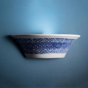 Eurokeramic Modro-biele keramické nástenné svietidlo Nelli