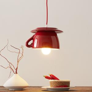 Eurokeramic Keramická závesná lampa S182, červená/belasá