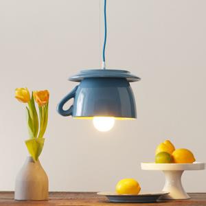 Eurokeramic Keramická závesná lampa S183, belasá/žltá
