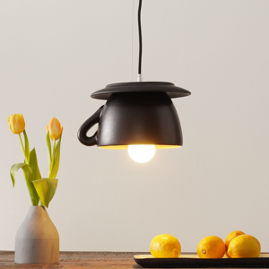 Eurokeramic Keramická závesná lampa S181 GLS čierna matná/žltá