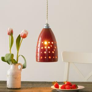 Eurokeramic Keramická závesná lampa S1815 v červenej