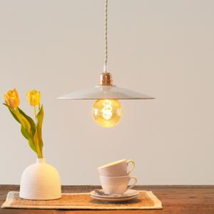 Eurokeramic Keramická závesná lampa S1836, biela/medená