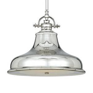 QUOIZEL Závesná lampa Emery 1-pl. striebro Ø 34,3cm