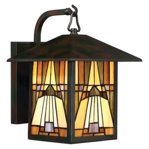 QUOIZEL Vonkajšie svietidlo Inglenook farebné sklo 31,4cm