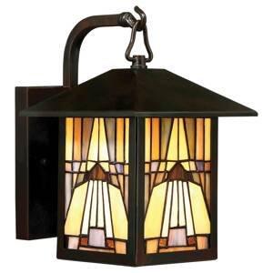 QUOIZEL Vonkajšie svietidlo Inglenook farebné sklo 27,8cm