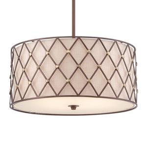 QUOIZEL Závesná lampa Brown Lattice, Ø 55,9cm