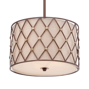 QUOIZEL Závesná lampa Brown Lattice Ø 40,6cm