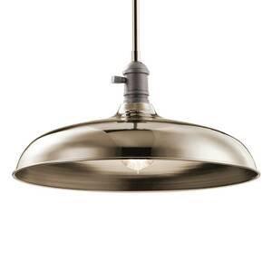KICHLER Závesná lampa Cobson Ø 40,7cm leštený nikel