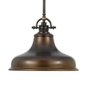 QUOIZEL Závesná lampa Emery 1-pl. bronz Ø 34,3cm