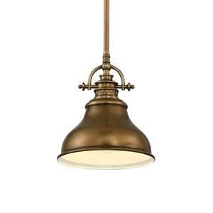 QUOIZEL Závesná lampa Emery 1-pl. mosadz Ø 20,3cm