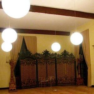 Epstein Závesná lampa Snowball biela do interiéru 60cm