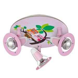 Elobra Stropné svietidlo Sova pre detskú izbu, ružové