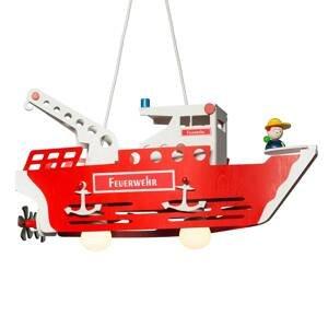 Elobra Detská závesná lampa Požiarnicka loď Fred