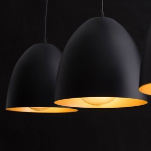 EMIBIG LIGHTING Závesná lampa Lenox, dvoj-plameňová, čierna/zlatá