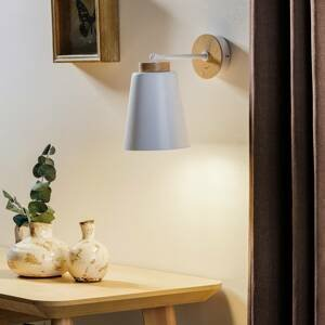 EMIBIG LIGHTING Nástenné svietidlo Periot K1 v bielej drevená deko