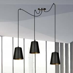 EMIBIG LIGHTING Závesná lampa Link v čiernej, troj-plameňová