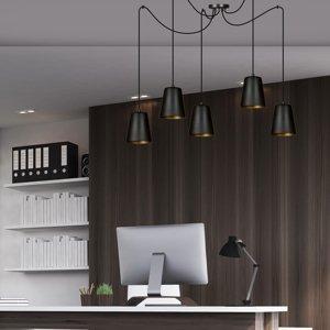 EMIBIG LIGHTING Závesná lampa Link s 5 tienidlami, čierna