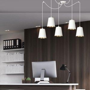 EMIBIG LIGHTING Závesná lampa Link s piatimi tienidlami, biela