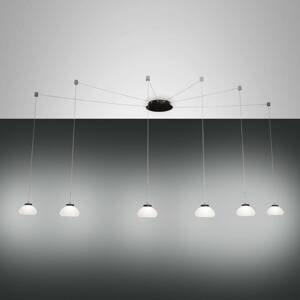 Fabas Luce Závesná lampa Arabella decentrálna 6-pl. biela
