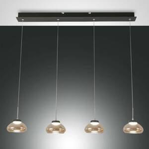 Fabas Luce Závesná lampa Arabella 4-plameňové v sérii jantár