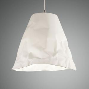 Fabas Luce Závesná lampa Crumple z keramiky, biela