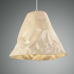 Fabas Luce Závesná lampa Crumple z keramiky, kaki