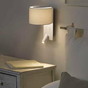 FARO BARCELONA Nástenné svetlo Fold s LED lampu na čítanie, biela