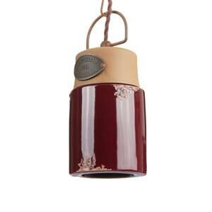 Ferro Luce Závesná lampa C1620, keramika a kov, bordó