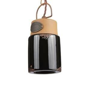 Ferro Luce Závesná lampa C1620, keramika a kov, čierna