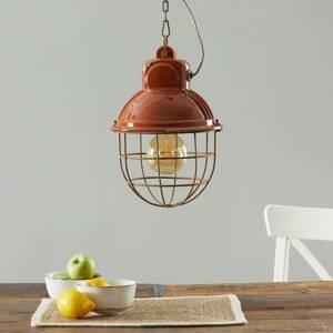 Ferro Luce Závesná lampa C1770 priemyselný dizajn oranžová
