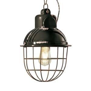 Ferro Luce Závesná lampa C1770 v priemyselnom dizajne, čierna