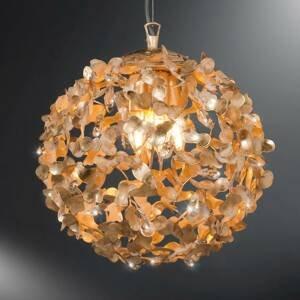 Ferro Luce Guľatá závesná lampa Oro s krištáľmi