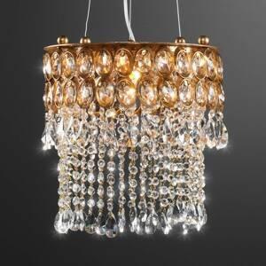 Ferro Luce Krištáľová závesná lampa Romero lístkové zlato