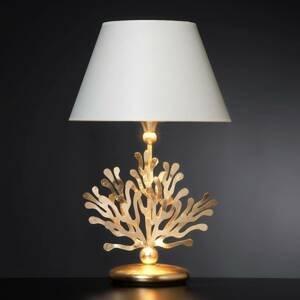 Ferro Luce Látková stojaca lampa Coral s lístkovým zlatom