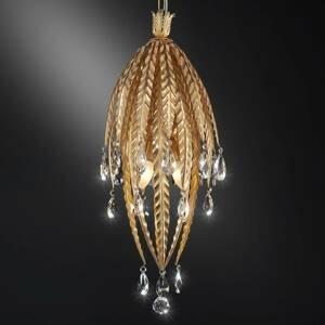 Ferro Luce Závesná lampa Fabiana s krištáľovým závesom