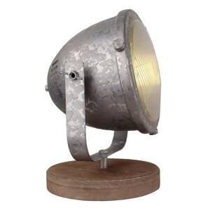 Freelight Drevená stolná lampa, galvanizovaná