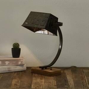 Freelight Stolná lampa Scava drevený podstavec, hrdzavohnedá