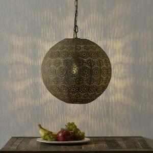 Freelight Závesná lampa Motivo, guľovitá, zlatá, Ø 40cm
