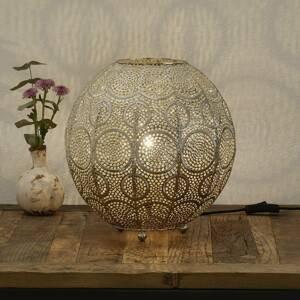 Freelight Stolná lampa Motivo, guľovitá, zlatá