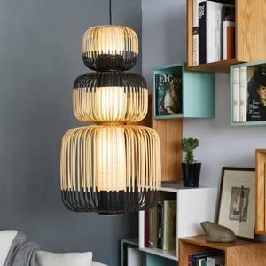 Forestier Forestier Bamboo závesná lampa čierna 3-plameňová